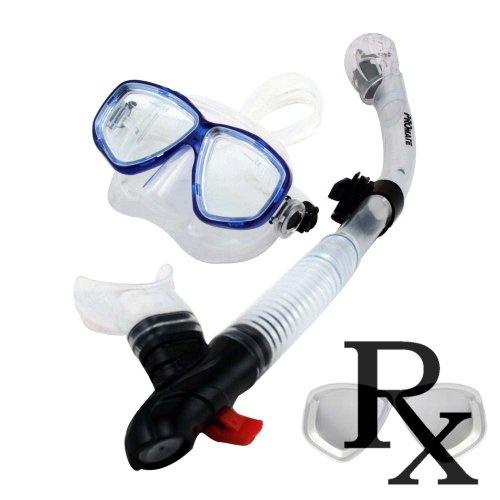 シュノーケリング マリンスポーツ 【送料無料】Prescription Mask Scuba Dive Dry Snorkel Set for Snorkeling Scuba Diving (7590)シュノーケリング マリンスポーツ