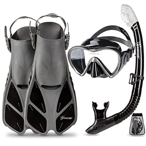開店祝い シュノーケリング マリンスポーツ Seavenger Diving Dry Lens Top Snorkel Set to with Size Trek Fin, Single Lens Mask and Gear Bag, XS/XXS - Size 1 to 4 or Children 10-13, Gray/Black Siliconシュノーケリング マリンスポーツ, 乗馬用品プラス:f96ca86a --- slope-antenna.xyz