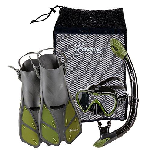 シュノーケリング マリンスポーツ Seavenger Diving Dry Top Snorkel Set with Trek Fin, Single Lens Mask and Gear Bag, L/XL - Size 9 to 13, Gray/Black Silicon/Greenシュノーケリング マリンスポーツ