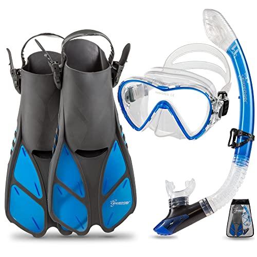 シュノーケリング マリンスポーツ Seavenger Diving Dry Top Snorkel Set with Trek Fin, Single Lens Mask and Gear Bag, L/XL - Size 9 to 13, Gray/Clear Blueシュノーケリング マリンスポーツ