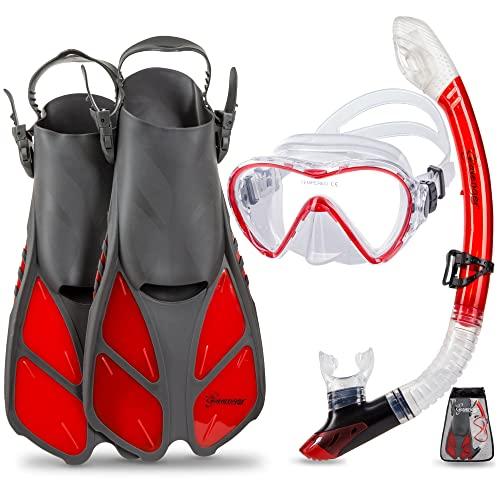 シュノーケリング マリンスポーツ Seavenger Diving Dry Top Snorkel Set with Trek Fin, Single Lens Mask and Gear Bag, L/XL - Size 9 to 13, Gray/Clear Redシュノーケリング マリンスポーツ