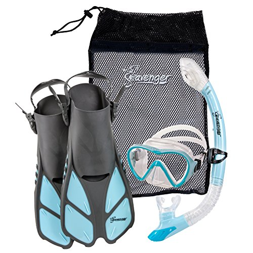 シュノーケリング マリンスポーツ FBA_SV-SET4 Seavenger Diving Dry Top Snorkel Set with Trek Fin, Single Lens Mask and Gear Bag, XS/XXS - Size 1 to 4 or Children 10-13, Gray/Dodger Blueシュノーケリング マリンスポーツ FBA_SV-SET4