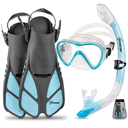 シュノーケリング マリンスポーツ FBA_SV-SET4 Seavenger Diving Dry Top Snorkel Set with Trek Fin, Single Lens Mask and Gear Bag, L/XL - Size 9 to 13, Gray/Dodger Blueシュノーケリング マリンスポーツ FBA_SV-SET4