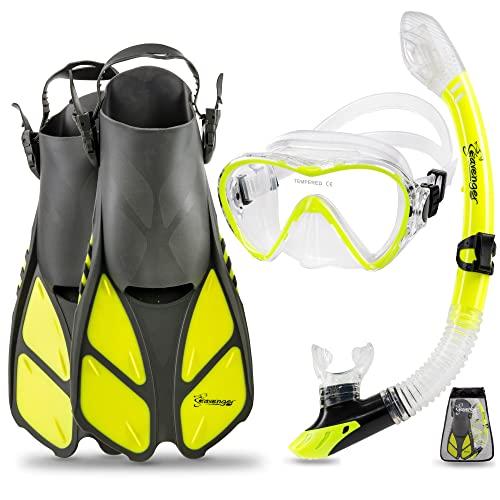 シュノーケリング マリンスポーツ Seavenger Diving Dry Top Snorkel Set with Trek Fin, Single Lens Mask and Gear Bag, L/XL - Size 9 to 13, Gray/Neon Yellowシュノーケリング マリンスポーツ