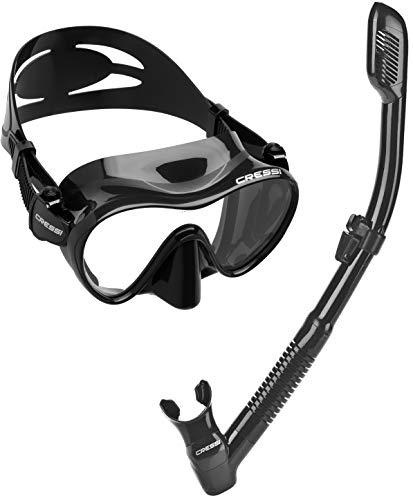 シュノーケリング マリンスポーツ CRSFMSS-PP Cressi Scuba Diving Snorkeling Freediving Mask Snorkel Set, All Blackシュノーケリング マリンスポーツ CRSFMSS-PP