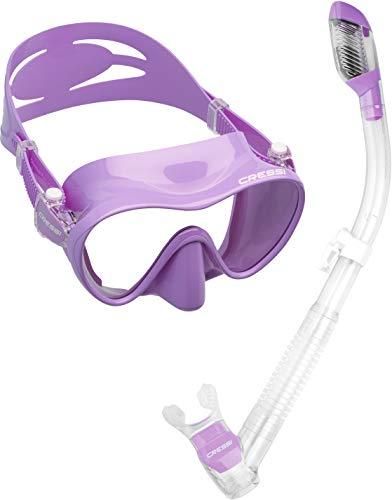 シュノーケリング マリンスポーツ CRS-FMSS-PUR-PP Cressi Scuba Diving Snorkeling Freediving Mask Snorkel Set, Lilacシュノーケリング マリンスポーツ CRS-FMSS-PUR-PP