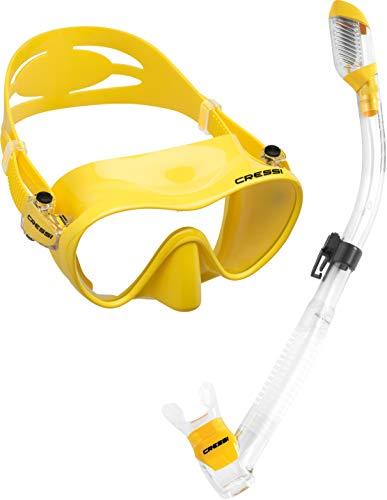 シュノーケリング マリンスポーツ CRS-FMSS-YL-PP Cressi Scuba Diving Snorkeling Freediving Mask Snorkel Set, Yellowシュノーケリング マリンスポーツ CRS-FMSS-YL-PP