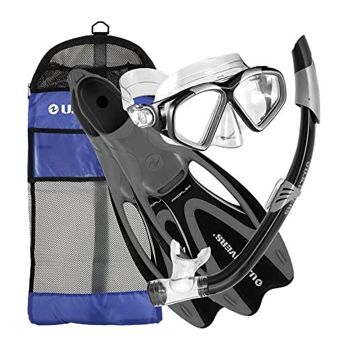 シュノーケリング マリンスポーツ 257000 【送料無料】U.S. Divers Cozumel Seabreeze Adult Snorkeling Combo Set with Adjustable Mask, Snorkel, Medium Fins (6.5-8), and Travel Bag, Blackシュノーケリング マリンスポーツ 257000