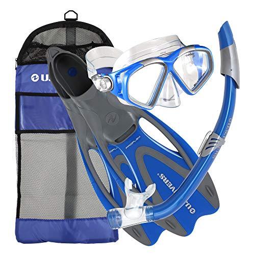 シュノーケリング マリンスポーツ 256990 【送料無料】U.S. Divers Cozumel Seabreeze Adult Snorkeling Combo Set with Adjustable Mask, Snorkel, Large Fins (9.5-11.5), and Travel Bag, Electric Blueシュノーケリング マリンスポーツ 256990