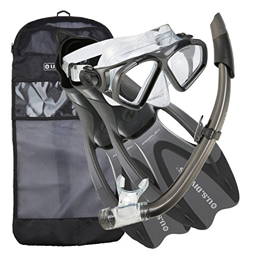 シュノーケリング マリンスポーツ 244345 【送料無料】U.S. Divers Cozumel Seabreeze Adult Snorkeling Combo Set with Adjustable Mask, Snorkel, Large Fins (9.5-11.5), and Travel Bag, Grayシュノーケリング マリンスポーツ 244345