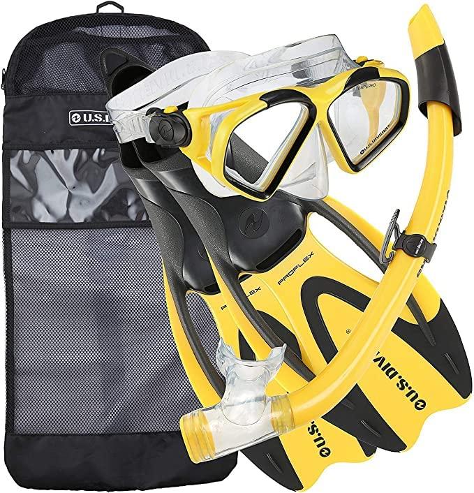 シュノーケリング マリンスポーツ 244370 【送料無料】U.S. Divers Cozumel Seabreeze Adult Snorkeling Combo Set with Adjustable Mask, Snorkel, Large Fins (9.5-11.5), and Travel Bag, Yellowシュノーケリング マリンスポーツ 244370