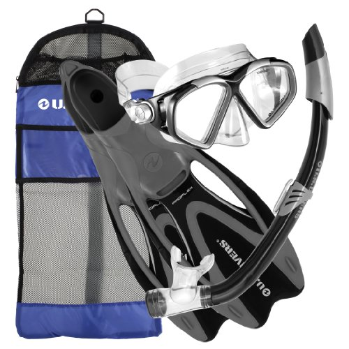 シュノーケリング マリンスポーツ 257015 【送料無料】U.S. Divers Cozumel Seabreeze Adult Snorkeling Combo Set with Adjustable Mask, Snorkel, Extra-Large Fins (11.5-13), and Travel Bag, Blackシュノーケリング マリンスポーツ 257015