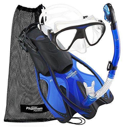 シュノーケリング マリンスポーツ PAQSMFS BL-LG Phantom Aquatics Adult Mask Fin Snorkel Set with Mesh Bag, Blue, Large/X-Large/Size 9 to 13シュノーケリング マリンスポーツ PAQSMFS BL-LG