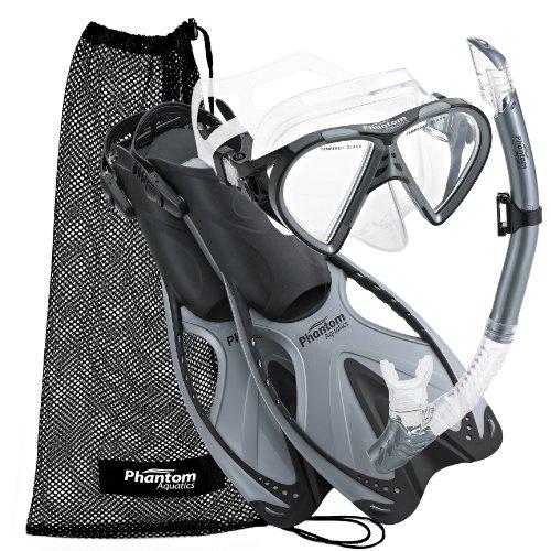シュノーケリング マリンスポーツ PAQSMFS SL-LG Phantom Aquatics Adult Mask Fin Snorkel Set with Mesh Bag, Silver, Large/X-Large/Size 9 to 13シュノーケリング マリンスポーツ PAQSMFS SL-LG