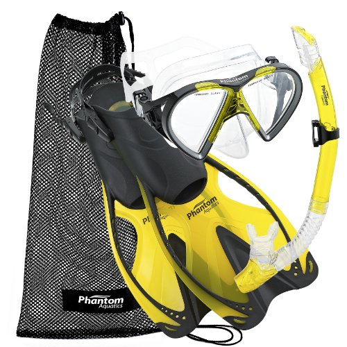 YL-LG Phantom Aquatics Italian Collection Legendary Panoramic View Mask Fin Dry Snorkel Set with Deluxe Snorkeling Gear Bag