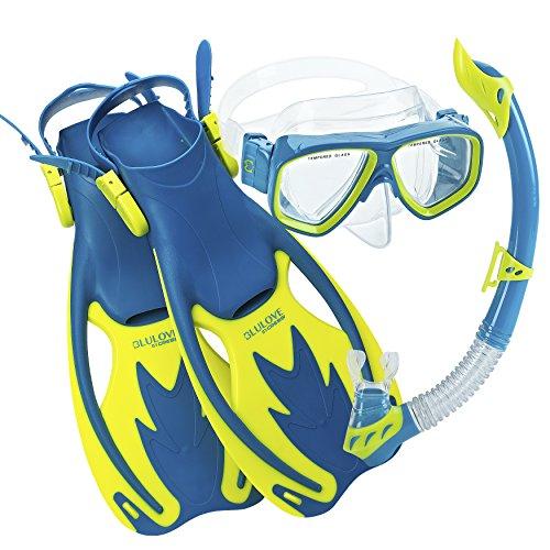 シュノーケリング マリンスポーツ USK060204B Cressi Junior Rocks Mask Fin Snorkel Set, Blue Yellow, Large/X-Largeシュノーケリング マリンスポーツ USK060204B