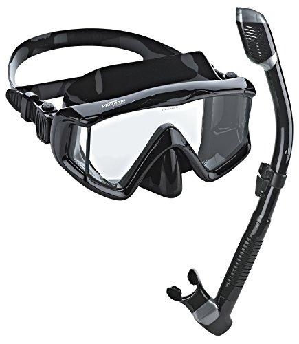 シュノーケリング マリンスポーツ PAQPMSC-ABK 【送料無料】Phantom Aquatics Panoramic Scuba Mask Snorkel Set, All Blackシュノーケリング マリンスポーツ PAQPMSC-ABK