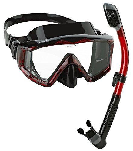 シュノーケリング マリンスポーツ PAQ3WMSC-BKRD-PP Phantom Aquatics Panoramic Scuba Mask Snorkel Set, Black Redシュノーケリング マリンスポーツ PAQ3WMSC-BKRD-PP