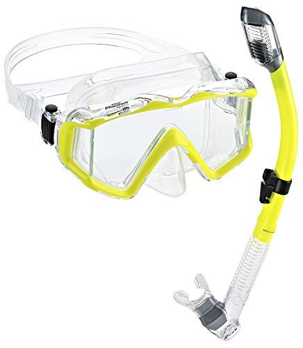 シュノーケリング マリンスポーツ PAQPMSC-YL 【送料無料】Phantom Aquatics Panoramic Scuba Mask Snorkel Set, Yellowシュノーケリング マリンスポーツ PAQPMSC-YL