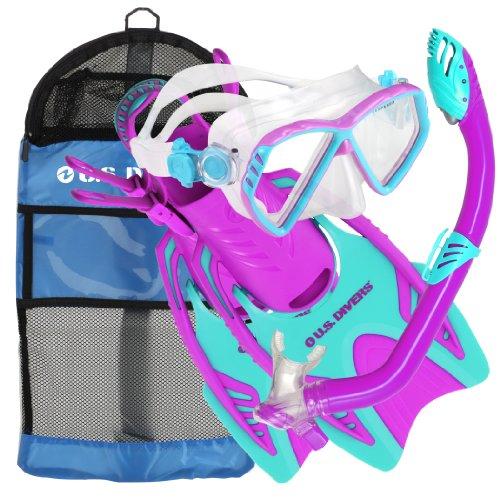 シュノーケリング マリンスポーツ 241010 U.S. Divers Junior Regal Mask, Trigger Fins and Laguna Snorkel Combo Set, Fun Purple, Large/X-Largeシュノーケリング マリンスポーツ 241010