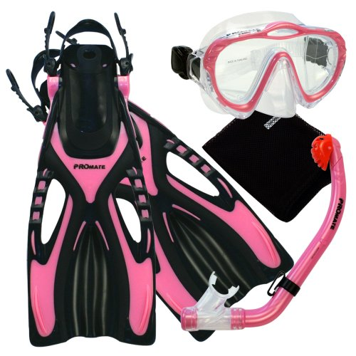 シュノーケリング マリンスポーツ Promate 4570, pk, lxl, Junior Snorkeling Scuba Diving Mask Snorkel Fins w/Mesh Bag Set for kidsシュノーケリング マリンスポーツ