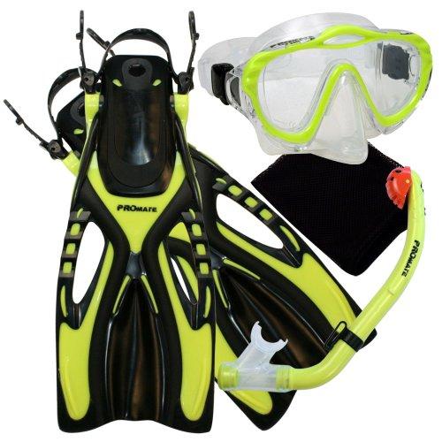 シュノーケリング マリンスポーツ Promate 4570, yel, lxl, Junior Snorkeling Scuba Diving Mask DRY Snorkel Fins Set for kidsシュノーケリング マリンスポーツ
