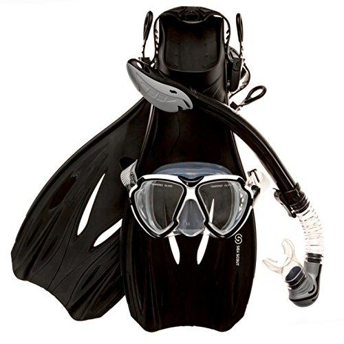 シュノーケリング マリンスポーツ Sea Scout Adult Snorkeling Set - Dry-top Snorkel/Fins / Mask (Large)シュノーケリング マリンスポーツ
