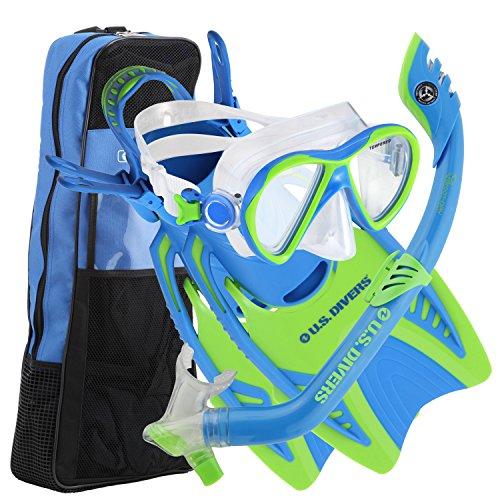 シュノーケリング マリンスポーツ 241715 U.S. Divers Youth Flare Jr Silicone Snorkeling Set Fun Blue Small 1-3シュノーケリング マリンスポーツ 241715