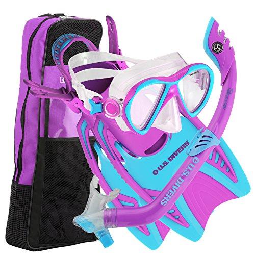 シュノーケリング マリンスポーツ 241730 【送料無料】U.S. Divers Youth Flare Junior Silicone Snorkeling Set with Mask, Fins ,Snorkel and Gear Bag, Fun Purpleシュノーケリング マリンスポーツ 241730