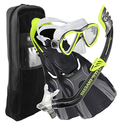 シュノーケリング マリンスポーツ 253631 U.S. Divers Flare JR Mask Fins Snorkel Set, Neon Black, Largeシュノーケリング マリンスポーツ 253631