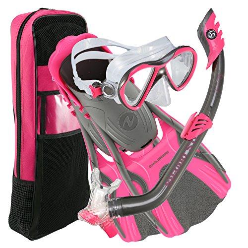 シュノーケリング マリンスポーツ 253634 U.S. Divers Flare JR Mask Fins Snorkel Set, Gun Metal Pink, Largeシュノーケリング マリンスポーツ 253634