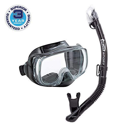 シュノーケリング マリンスポーツ UC-3325-BKBK TUSA Sport Adult Imprex 3D Purge Mask and Dry Snorkel Combo, Black/Blackシュノーケリング マリンスポーツ UC-3325-BKBK
