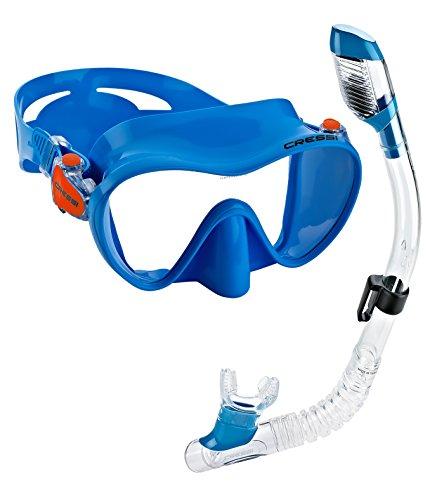 シュノーケリング マリンスポーツ 【送料無料】Cressi Junior Frameless Mask Dry Snorkel Set (Blue)シュノーケリング マリンスポーツ