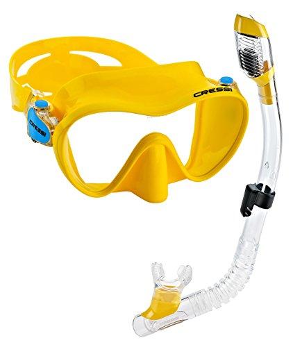 シュノーケリング マリンスポーツ 【送料無料】Cressi Junior Frameless Mask Dry Snorkel Set (Yellow)シュノーケリング マリンスポーツ