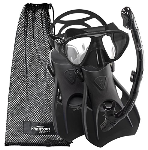 シュノーケリング マリンスポーツ PAQS2MFS-BK-SM Phantom Aquatics Speed Sport Signature Mask Fin Snorkel Set, All Black, Small/Size 4-7シュノーケリング マリンスポーツ PAQS2MFS-BK-SM