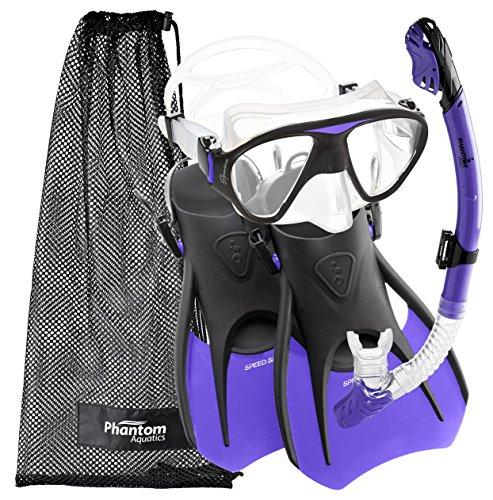 シュノーケリング マリンスポーツ PAQS2MFS-PR-SM Phantom Aquatics Speed Sport Signature Mask Fin Snorkel Set, Lilac, Small/Size 4-7シュノーケリング マリンスポーツ PAQS2MFS-PR-SM