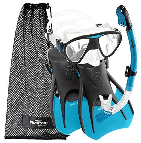 シュノーケリング マリンスポーツ PAQS2MFS-AQ-MD Phantom Aquatics Speed Sport Signature Mask Fin Snorkel Set, Aqua, Medium/Size 7-10シュノーケリング マリンスポーツ PAQS2MFS-AQ-MD