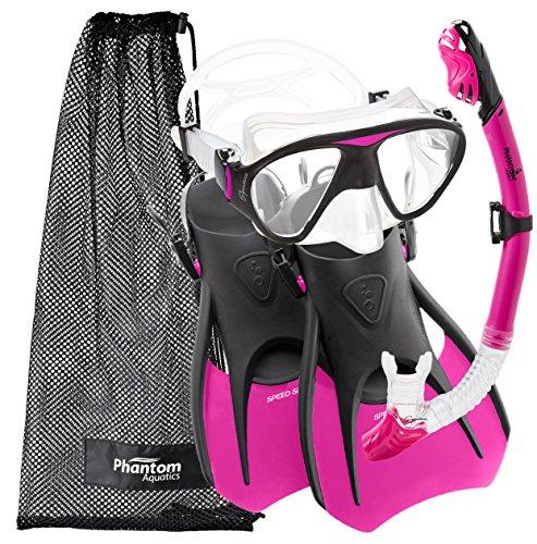 シュノーケリング マリンスポーツ PAQS2MFS-PK-MD Phantom Aquatics Speed Sport Signature Mask Fin Snorkel Set, Hot Pink, Medium/Size 7-10シュノーケリング マリンスポーツ PAQS2MFS-PK-MD