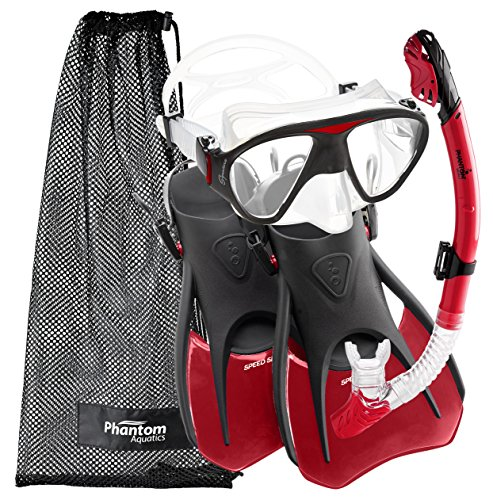 シュノーケリング マリンスポーツ PAQS2MFS-RD-MD 【送料無料】Phantom Aquatics Lotus Adult Recreation Mask Snorkel Setシュノーケリング マリンスポーツ PAQS2MFS-RD-MD