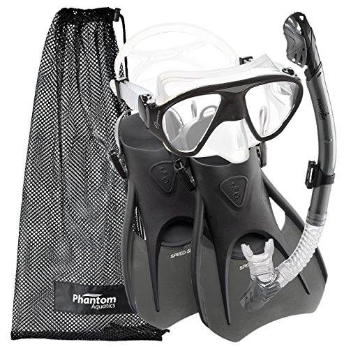 シュノーケリング マリンスポーツ PAQS2MFS-SL-MD Phantom Aquatics Speed Sport Signature Mask Fin Snorkel Set, Silver, Medium/Size 7-10シュノーケリング マリンスポーツ PAQS2MFS-SL-MD