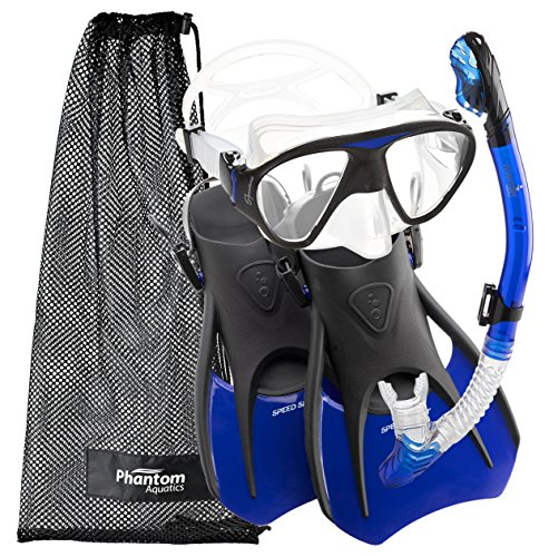 シュノーケリング マリンスポーツ PAQS2MFS-BL-LG Phantom Aquatics Speed Sport Signature Mask Fin Snorkel Set, Blue, Large/Size 10-13シュノーケリング マリンスポーツ PAQS2MFS-BL-LG