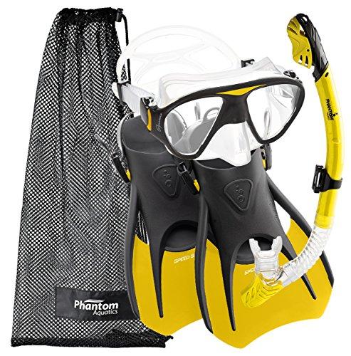 シュノーケリング マリンスポーツ PAQS2MFS-YL-LG Phantom Aquatics Speed Sport Signature Mask Fin Snorkel Set, Yellow, Large/Size 10-13シュノーケリング マリンスポーツ PAQS2MFS-YL-LG