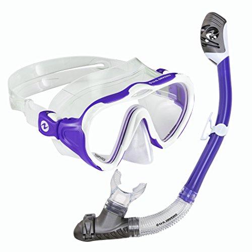 シュノーケリング マリンスポーツ 261206 【送料無料】U.S. Divers Lady Starlet Womens One Size Fits Most LX Mask & Tucson Snorkel with Pro-Glide Buckles, Purpleシュノーケリング マリンスポーツ 261206