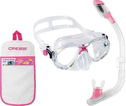 シュノーケリング マリンスポーツ DM1000074 Cressi Marea Jr & Mini Dry, clear/pinkシュノーケリング マリンスポーツ DM1000074