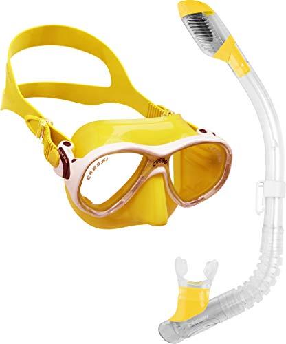 シュノーケリング マリンスポーツ DM1000076 Cressi Marea Jr (Colorama edition) & Mini Dry, yellowシュノーケリング マリンスポーツ DM1000076