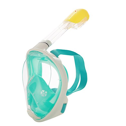 シュノーケリング マリンスポーツ 夏のアクティビティ特集 OU BAO New EasyBreath Full Face Snorkel Mask 180° View, Anti-Fog, Hypoallergenic Silicone Facial Lining For Adults, Youth, Children (Green,シュノーケリング マリンスポーツ 夏のアクティビティ特集