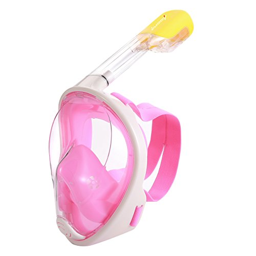 シュノーケリング マリンスポーツ OU BAO New EasyBreath Full Face Snorkel Mask 180° View, Anti-Fog, Hypoallergenic Silicone Facial Lining For Adults, Youth, Children (Pink, S/M)シュノーケリング マリンスポーツ