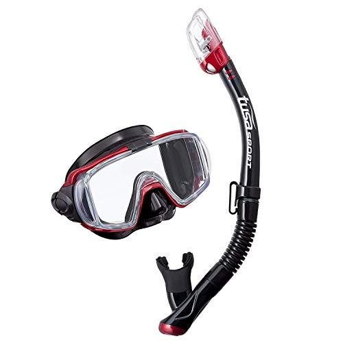 シュノーケリング マリンスポーツ UC-3125QB-MDR TUSA Sport Adult Visio Tri-Ex Black Series Mask and Dry Snorkel Combo, Black/Metallic Dark Redシュノーケリング マリンスポーツ UC-3125QB-MDR