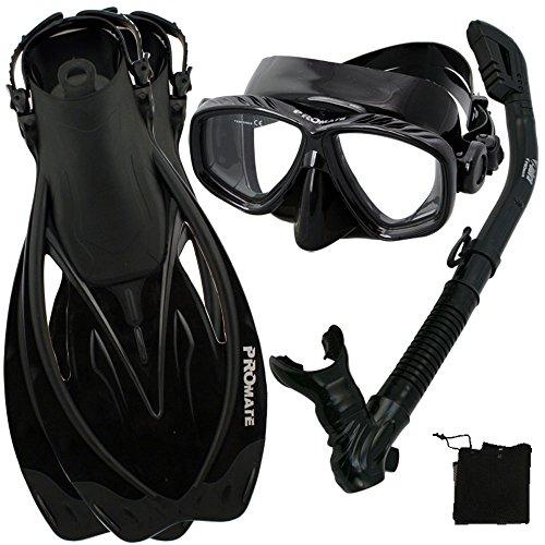 シュノーケリング マリンスポーツ PROMATE Snorkeling Scuba Dive Mask Fins DRY Snorkel Gear Set, Bk/Bk, S/Mシュノーケリング マリンスポーツ
