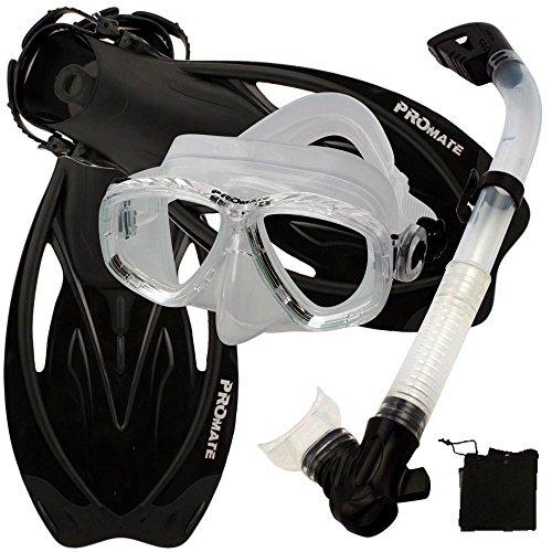 シュノーケリング マリンスポーツ 【送料無料】Promate Snorkeling Scuba Dive Mask Fins Dry Snorkel Gear Set, ClrWBk, S/Mシュノーケリング マリンスポーツ